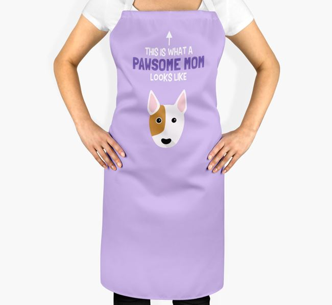 'Pawsome Mom' Apron with Bull Terrier Icon