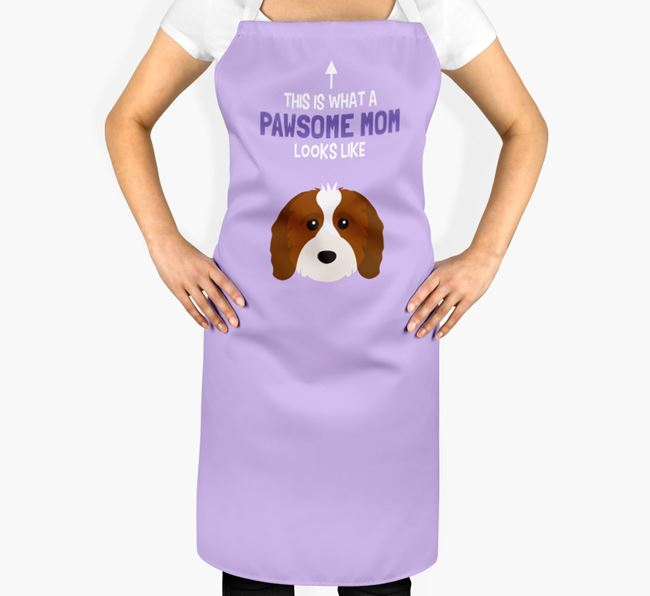 'Pawsome Mom' Apron with Cavapoo Icon
