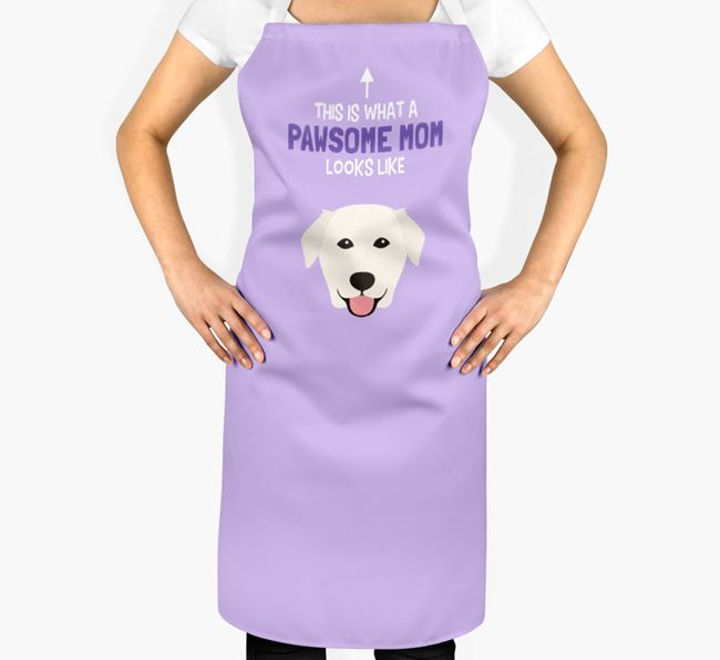 'Pawsome Mom' Apron with Golden Labrador Icon