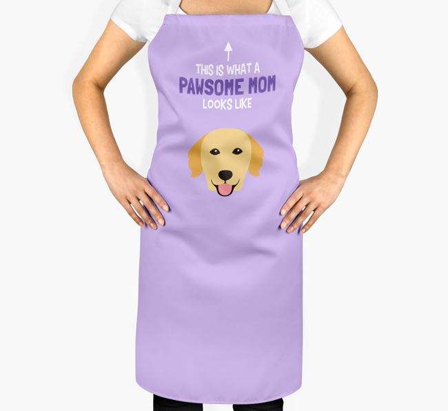 'Pawsome Mom' Apron with Golden Retriever Icon