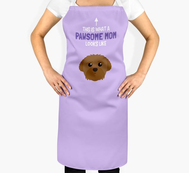 'Pawsome Mom' Apron with Peek-a-poo Icon