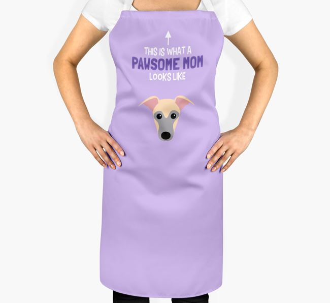 'Pawsome Mom' Apron with Whippet Icon