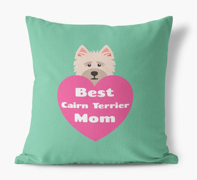 'Best Cairn Terrier Mom' Cushion with Cairn Terrier Icon