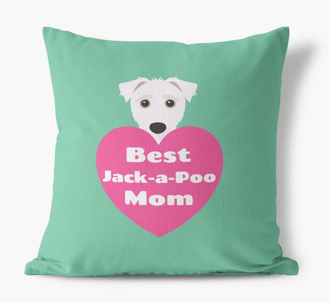 'Best Jack-a-Poo Mom' Cushion with Jack-A-Poo Icon