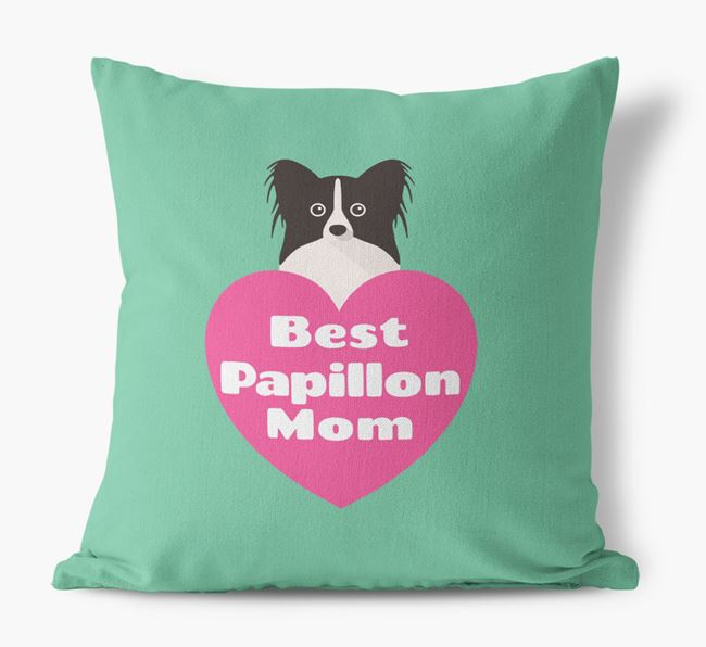 'Best Papillon Mom' Cushion with Papillon Icon