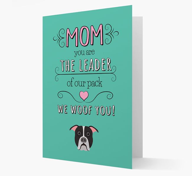 'The Leader Of Our Pack' Card with your American Bulldog Icon