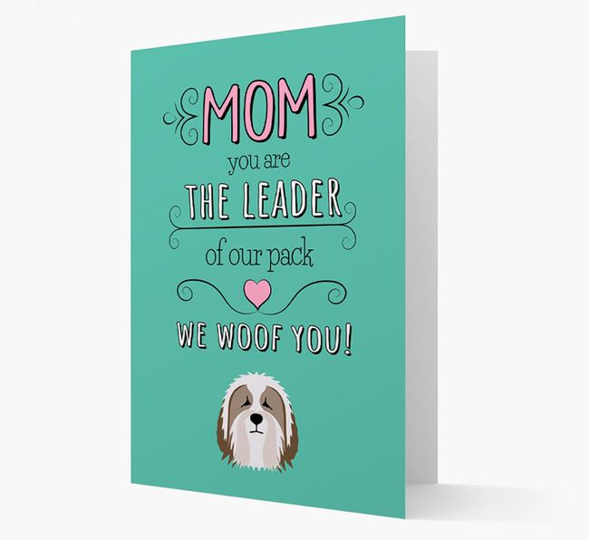 'The Leader Of Our Pack' Card with your Bearded Collie Icon