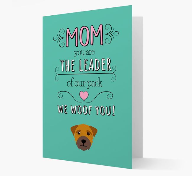 'The Leader Of Our Pack' Card with your Border Terrier Icon