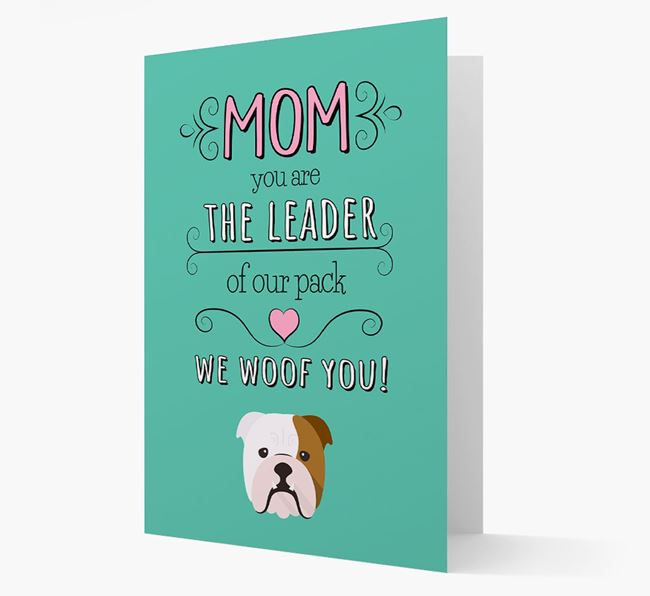 'The Leader Of Our Pack' Card with your English Bulldog Icon