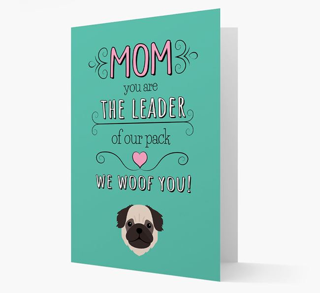 'The Leader Of Our Pack' Card with your Pug Icon