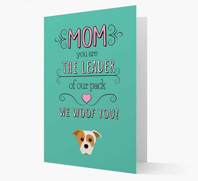 'The Leader Of Our Pack' Card with your Staffordshire Bull Terrier Icon