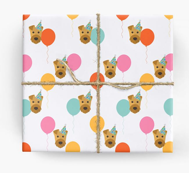 Birthday Balloon Wrapping Paper with Airedale Terrier Icons