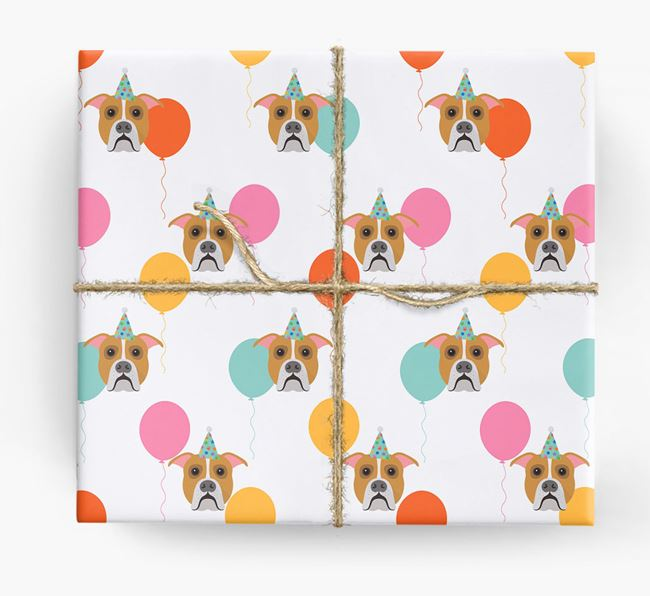 Birthday Balloon Wrapping Paper with American Bulldog Icons