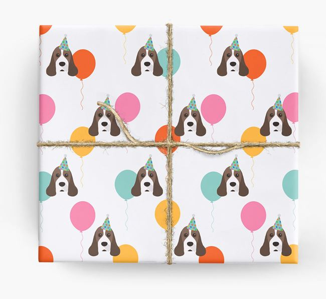 Birthday Balloon Wrapping Paper with American Cocker Spaniel Icons