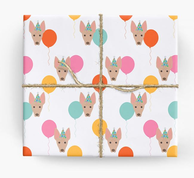 Birthday Balloon Wrapping Paper with American Hairless Terrier Icons