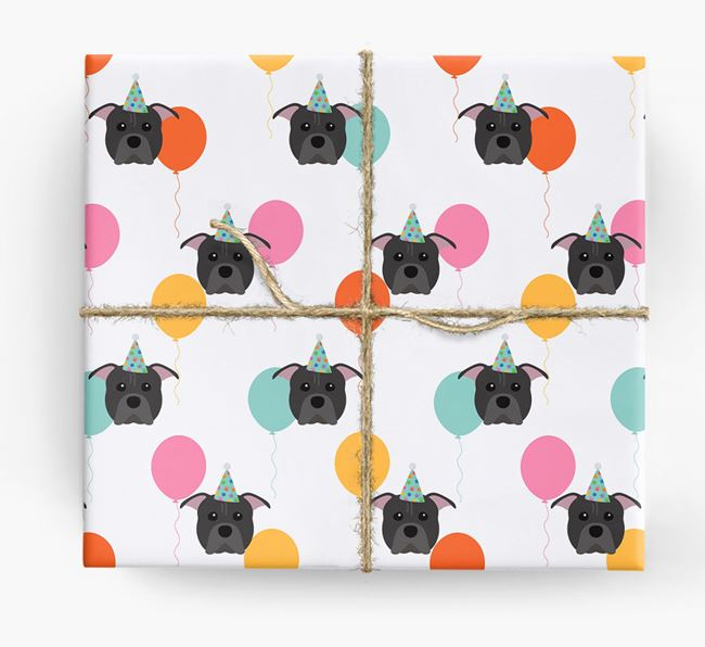 Birthday Balloon Wrapping Paper with American Pit Bull Terrier Icons