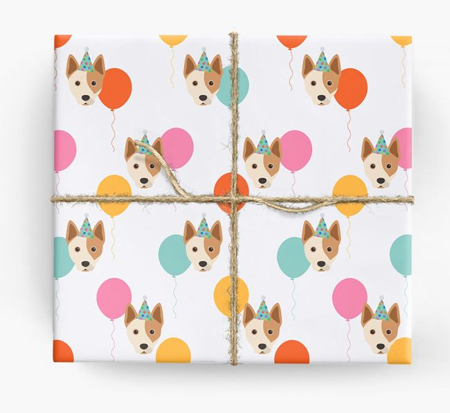 Birthday Balloon Wrapping Paper with Australian Cattle Dog Icons