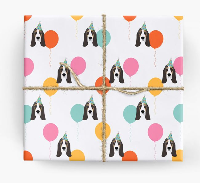 Birthday Balloon Wrapping Paper with Basset Hound Icons