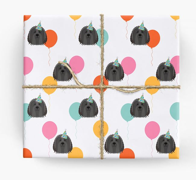 Birthday Balloon Wrapping Paper with Bearded Collie Icons