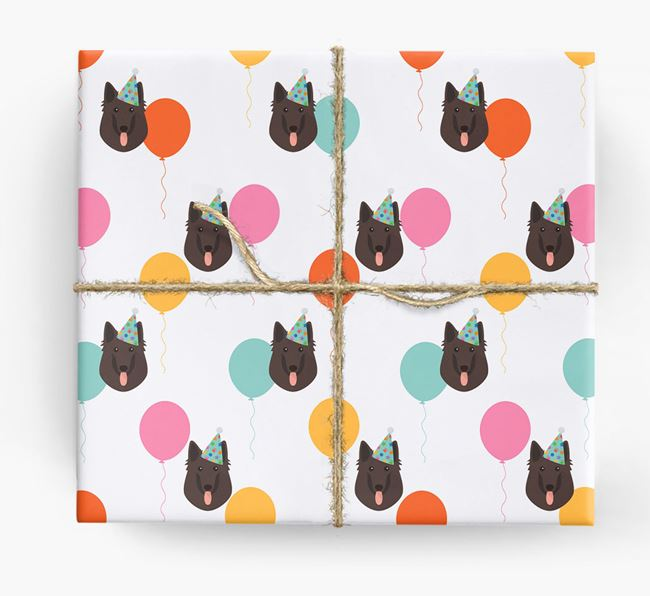 Birthday Balloon Wrapping Paper with Belgian Groenendael Icons