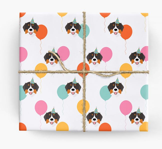 Birthday Balloon Wrapping Paper with Bernese Mountain Dog Icons