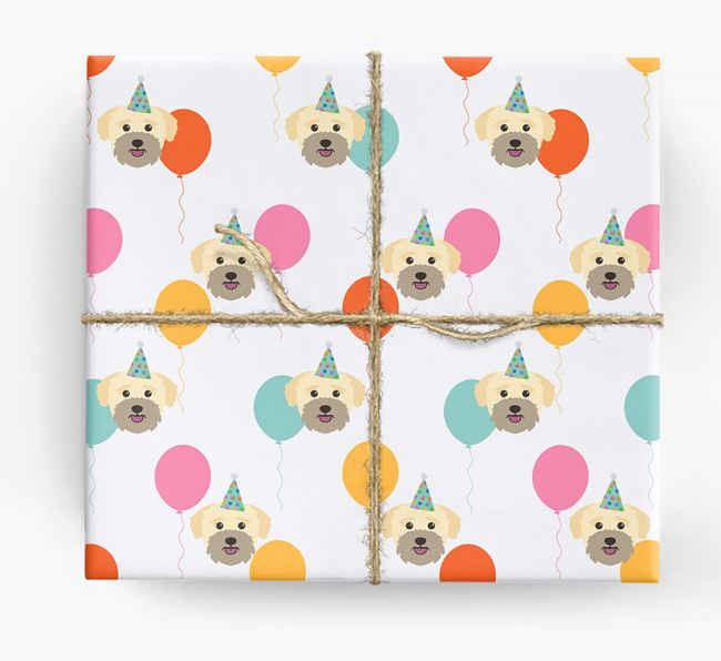 Birthday Balloon Wrapping Paper with Bichon Yorkie Icons