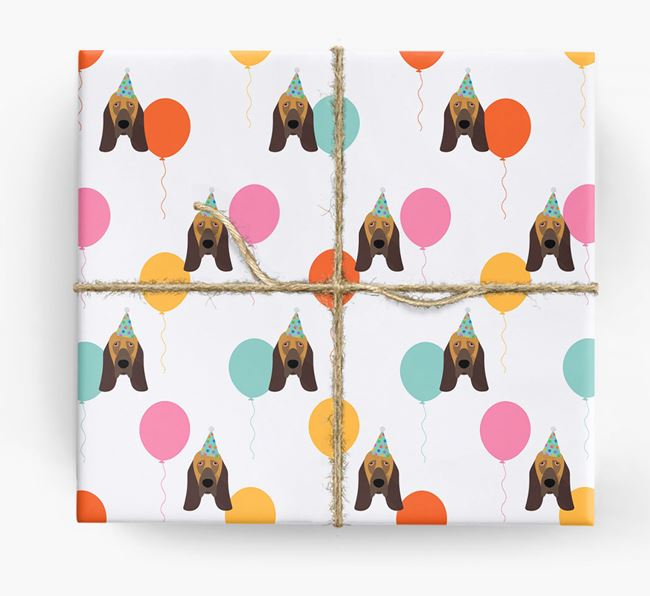 Birthday Balloon Wrapping Paper with Bloodhound Icons