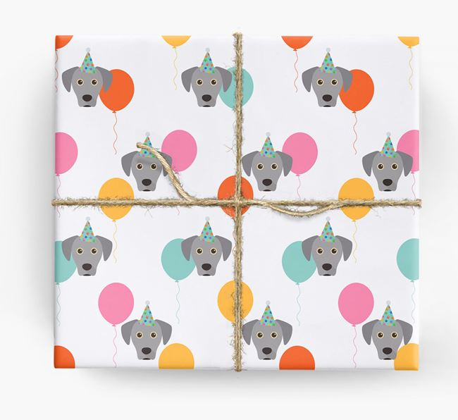 Birthday Balloon Wrapping Paper with Blue Lacy Icons