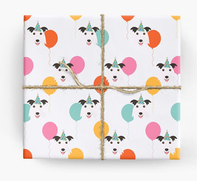 Birthday Balloon Wrapping Paper with Border Collie Icons