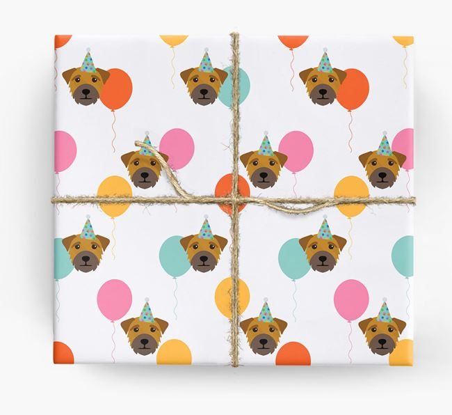 Birthday Balloon Wrapping Paper with Border Terrier Icons