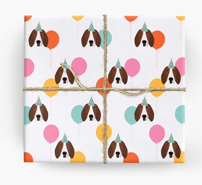 Birthday Balloon Wrapping Paper with Bracco Italiano Icons