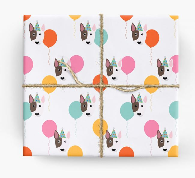Birthday Balloon Wrapping Paper with Bull Terrier Icons
