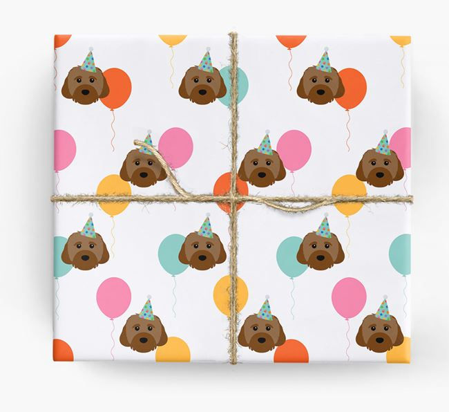 Birthday Balloon Wrapping Paper with Cavachon Icons
