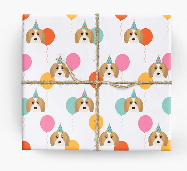 Birthday Balloon Wrapping Paper with Cavapoo Icons