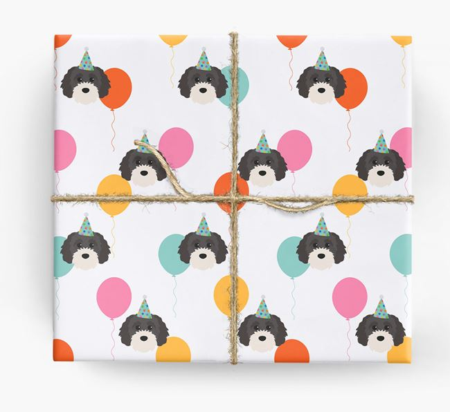Birthday Balloon Wrapping Paper with Cavapoochon Icons