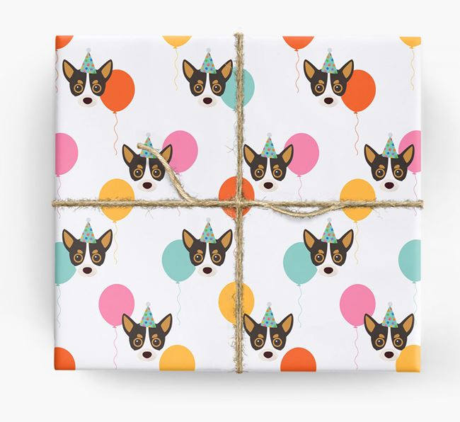 Birthday Balloon Wrapping Paper with Chihuahua Icons