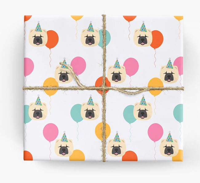 Birthday Balloon Wrapping Paper with Chow Chow Icons