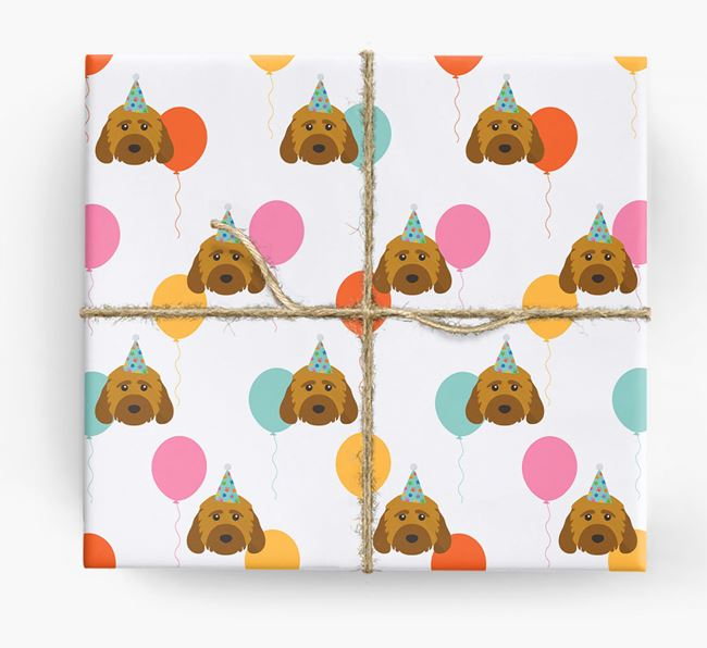 Birthday Balloon Wrapping Paper with Cockapoo Icons