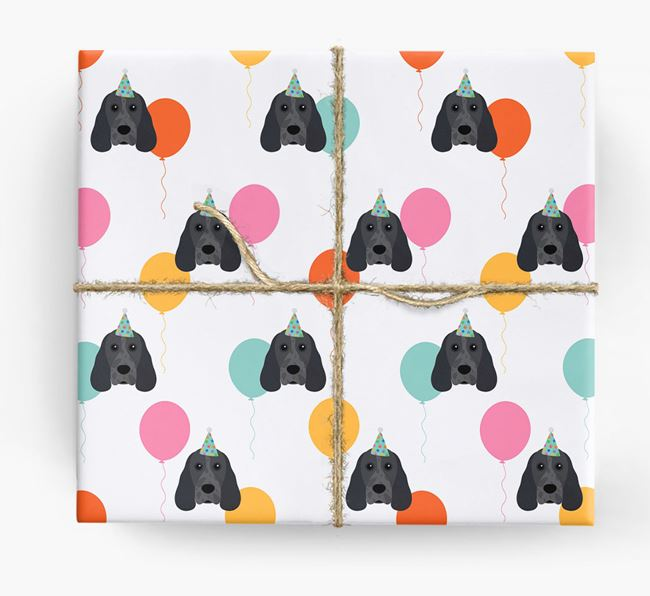 Birthday Balloon Wrapping Paper with Cocker Spaniel Icons