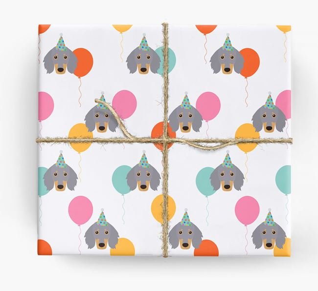 Birthday Balloon Wrapping Paper with Dachshund Icons