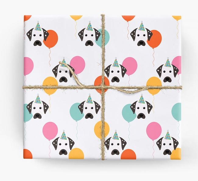 Birthday Balloon Wrapping Paper with Dalmatian Icons