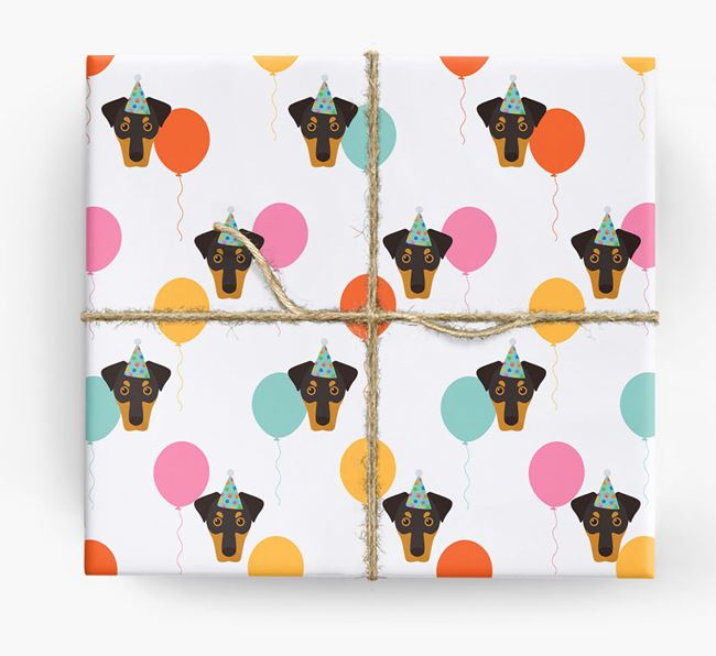 Birthday Balloon Wrapping Paper with Dobermann Icons