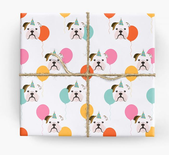 Birthday Balloon Wrapping Paper with English Bulldog Icons