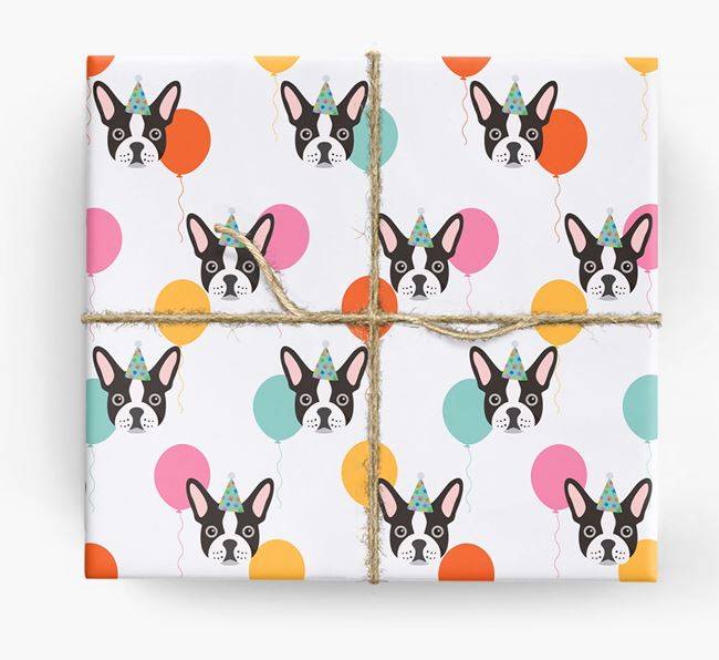Birthday Balloon Wrapping Paper with French Bulldog Icons