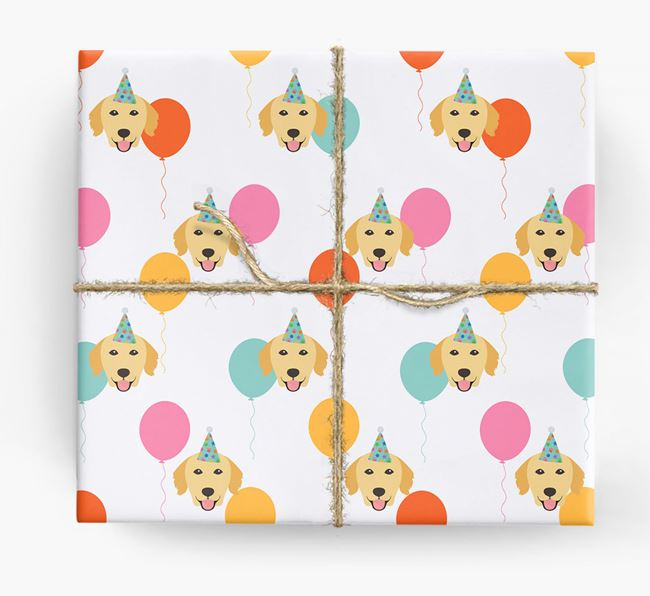 Birthday Balloon Wrapping Paper with Golden Retriever Icons