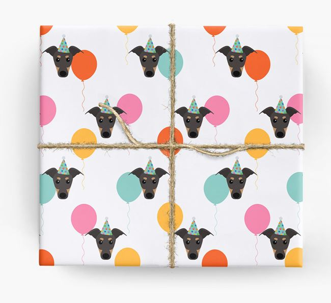 Birthday Balloon Wrapping Paper with Greyhound Icons