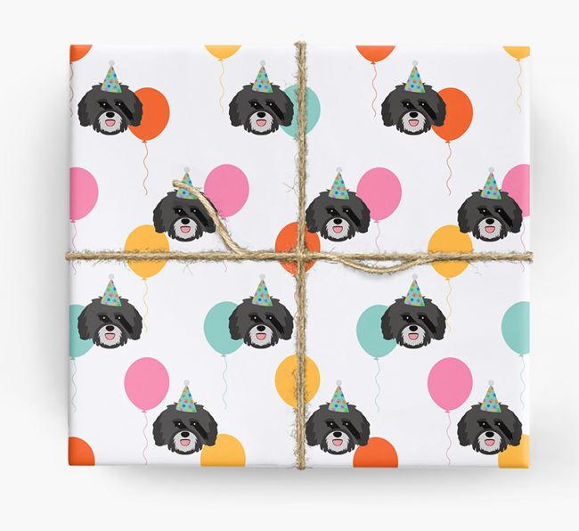 Birthday Balloon Wrapping Paper with Havanese Icons