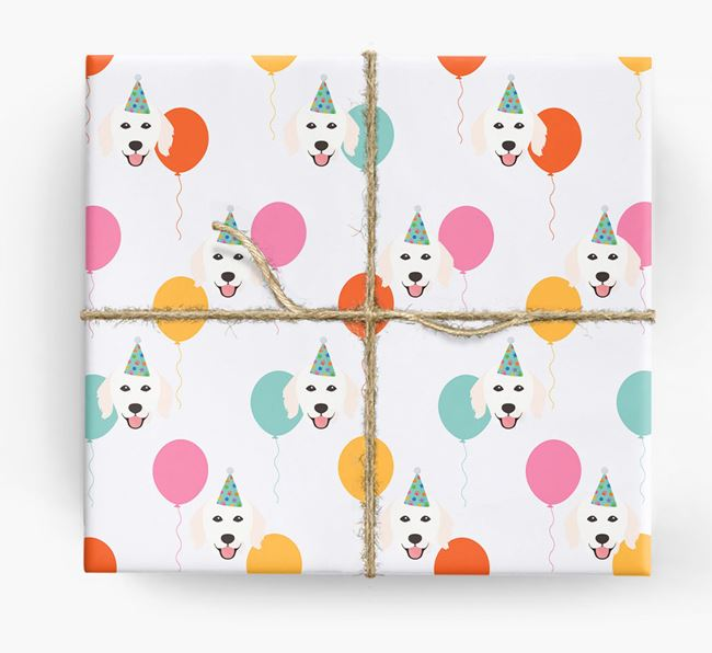 Birthday Balloon Wrapping Paper with Hungarian Kuvasz Icons