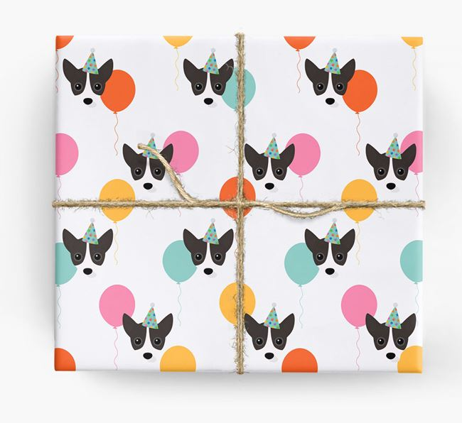 Birthday Balloon Wrapping Paper with Jackahuahua Icons