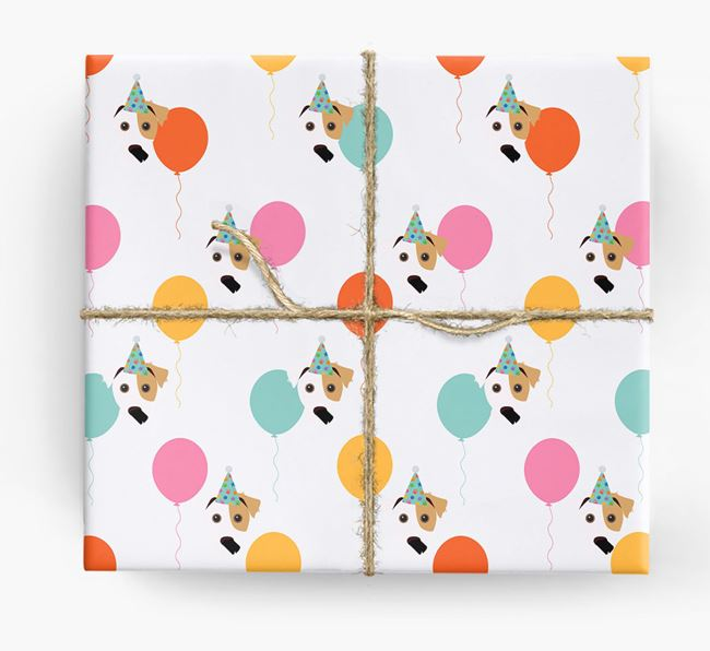 Birthday Balloon Wrapping Paper with Jack Russell Terrier Icons